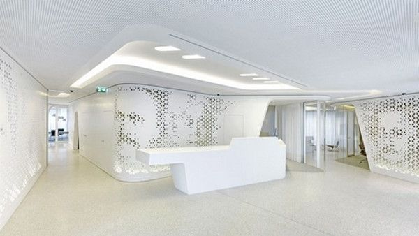 Spacious contemporary hallway in white modern bank interior design