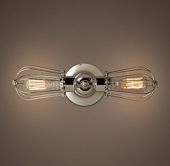 Marconi Caged Inline Double Sconce