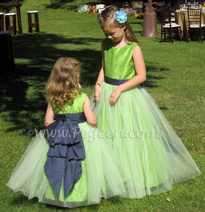 Apple Green And Navy Blue Silk Flower Girl Dresses By Pegeen Com
