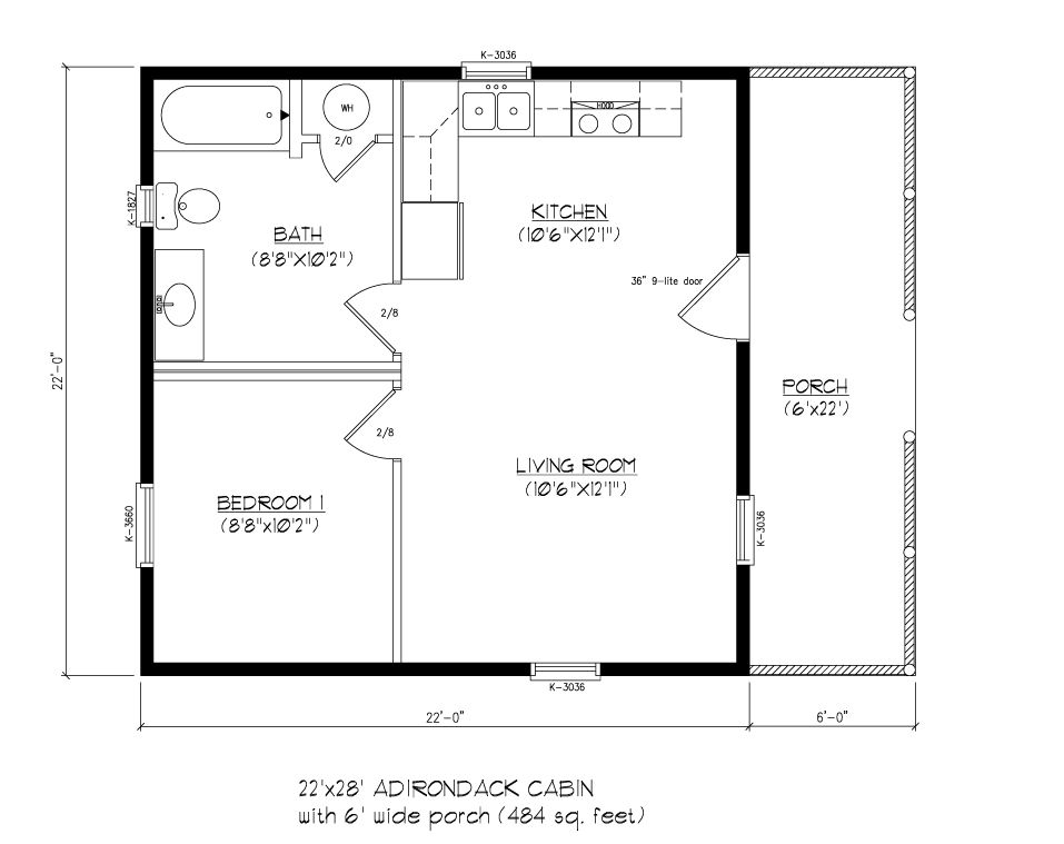 22x28 adirondack cabin wood tex modular cabin floor for Adirondack floor plans