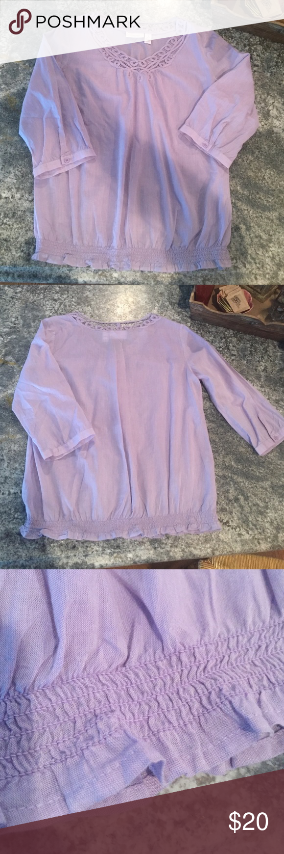 Light purple 100% cotton blouse Light purple 100% cotton, three quarter length sleeved blouse. Scrunched bottom. Chico's size 1, equivalent of a size Medium. Chico's Tops Blouses