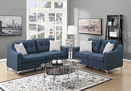 Mid Century Modern 2pcs Sofa Set Bobkona Love Seat Navy Polyfiber Tufted Cushion Back Pillows Couch Living Room