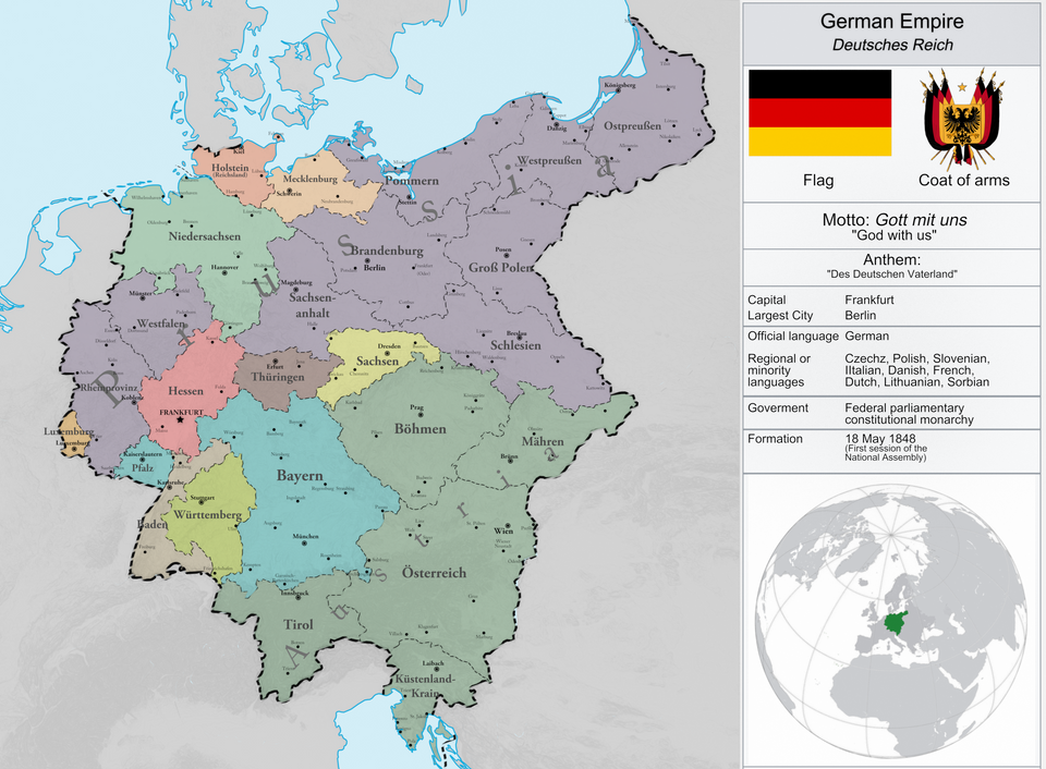 The German Empire after successful revolutions in 1848 ...