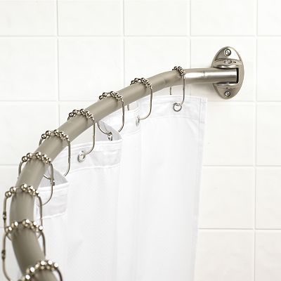 Zenna Home Curved Neverrust Shower Curtain Rod Shower Curtain