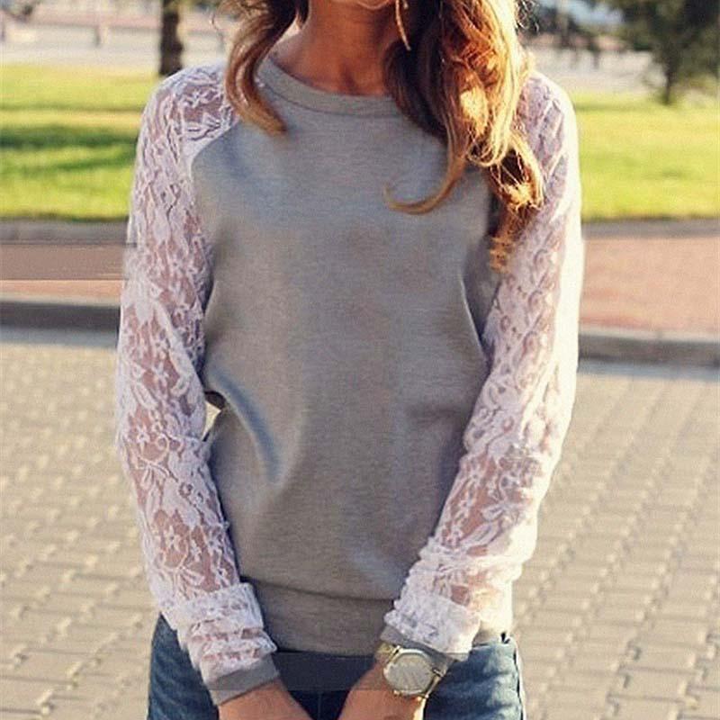 レースブラウスシャツ女性長袖ブラウスシャツblusa femininaシャツトップス固体oネックカジュアルシャツ5色