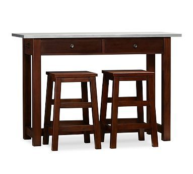 Espresso Counter Height Table Work Station With Stools That Fit Underneath