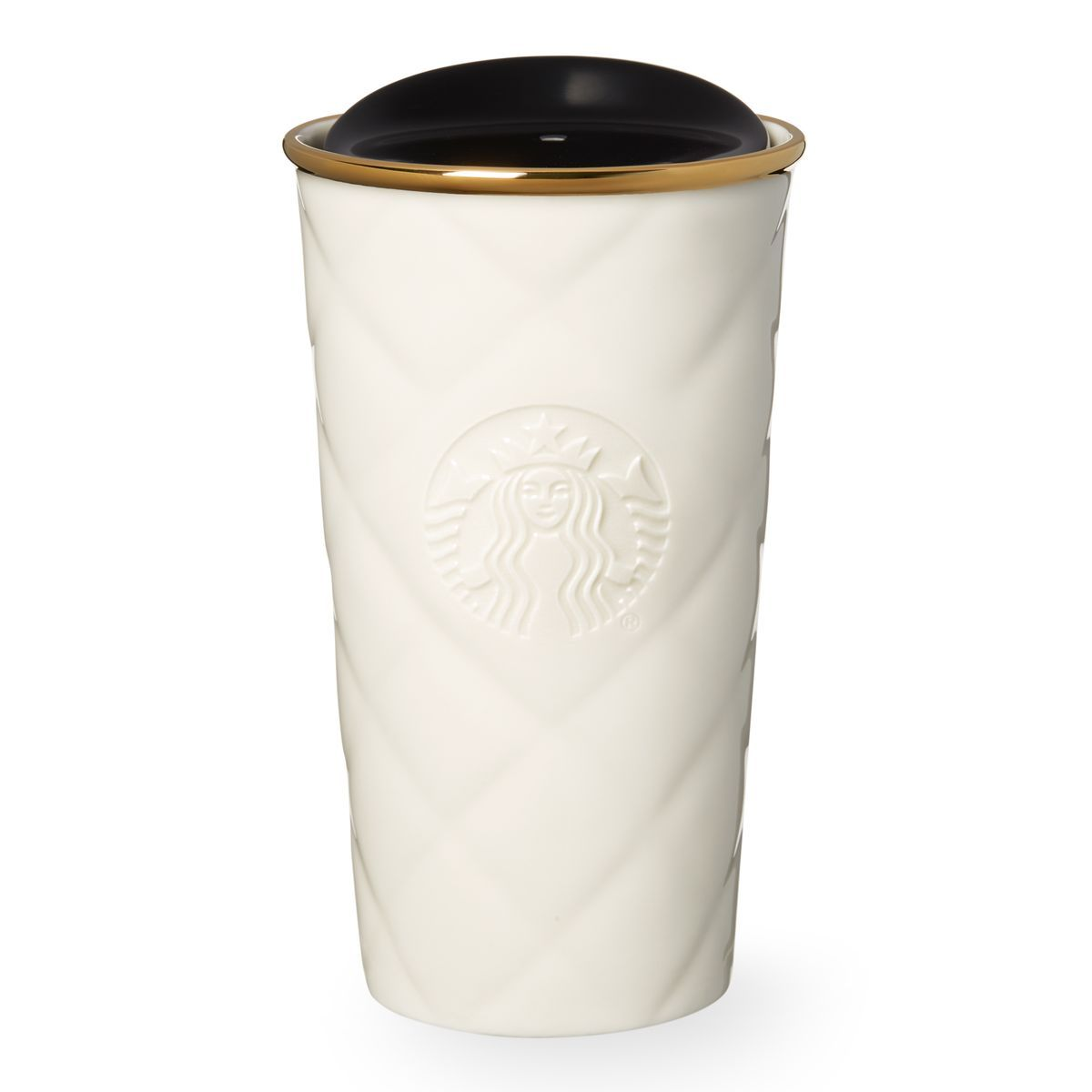 A Double Walled Ceramic Travel Mug With Smooth Quilted Texture And Metallic Gold Lid Part Of The Brilliant Collection