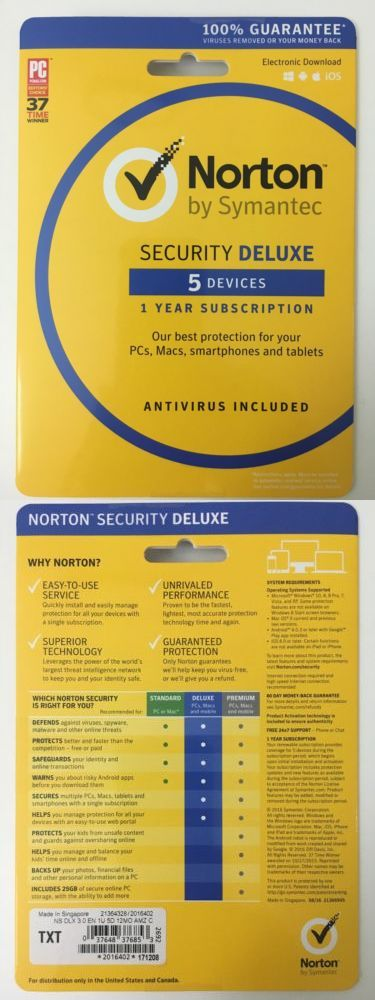 Antivirus And Security 175689 Norton Security Deluxe 5 Devices 1 Year Pc Mac Mobile 2018 2019 Sealed Norton Security Norton Internet Security Security
