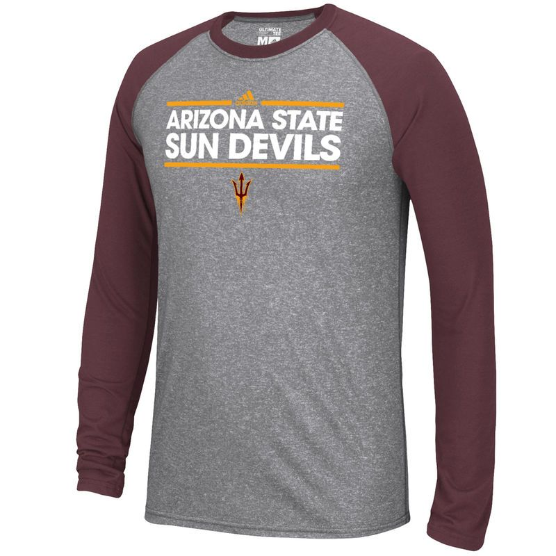 69be206f80b6 Arizona State Sun Devils adidas Ultimate Long Sleeve Raglan T-Shirt - Dark  Gray/Maroon
