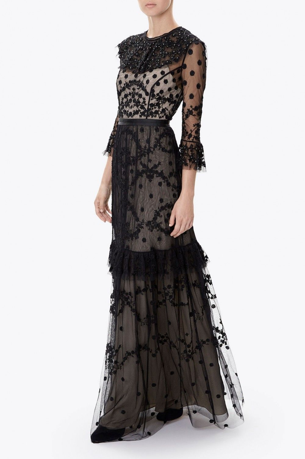 Channel an ethereal style in the shadow lace gown finished in black