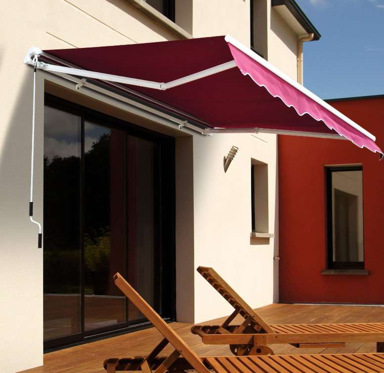 Outsunny 8 X 7 Manual Retractable Sun Shade Patio Awning Red Patio Awning House Awnings Custom Awnings
