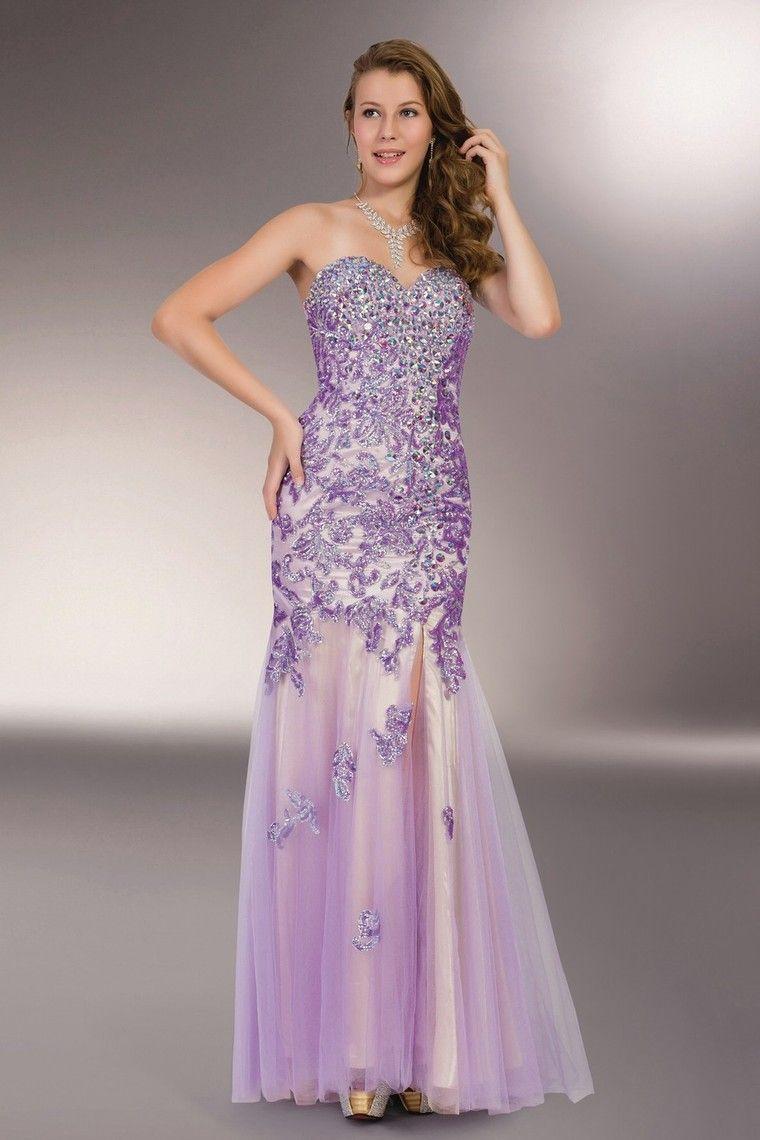 Elegant Lavender Prom Dresses 2019 A-Line / Princess V