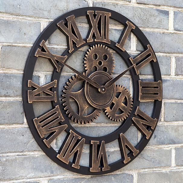 Oversized Large Decorative Vintage Retro Art Luxury Gears Wall Clock