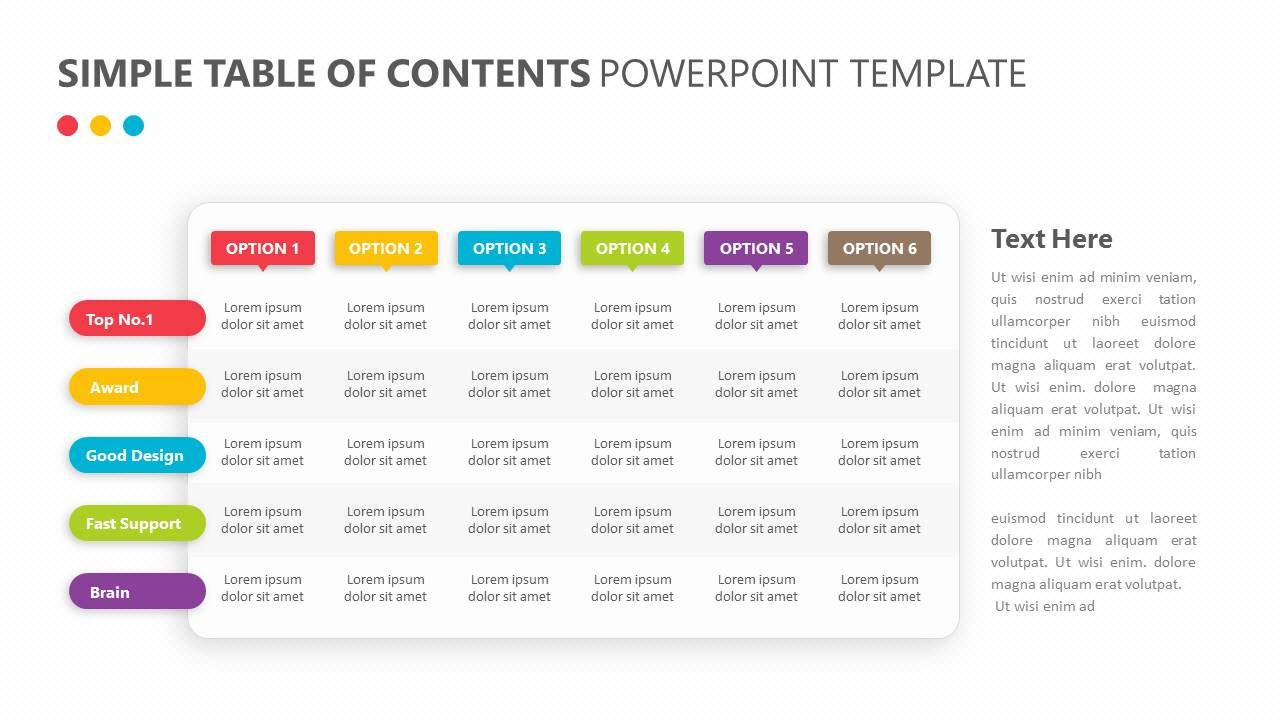 Show off the different results of your brainstorming endeavors with show off the different results of your brainstorming endeavors with the simple table of contents powerpoint template the simple table of contents maxwellsz