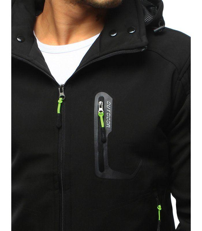 Pánska čierna softshellová bunda s kapucňou  374ff168fcc