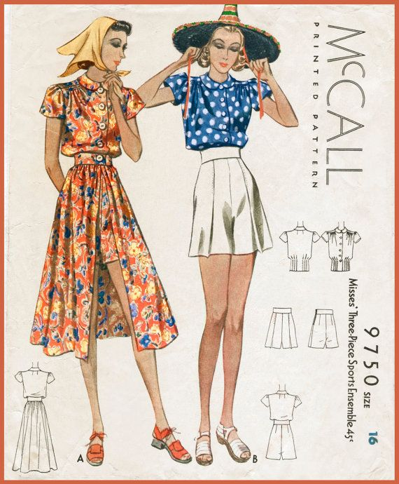 1940s vintage sewing pattern playsuit skirt shorts beach summer bust ...
