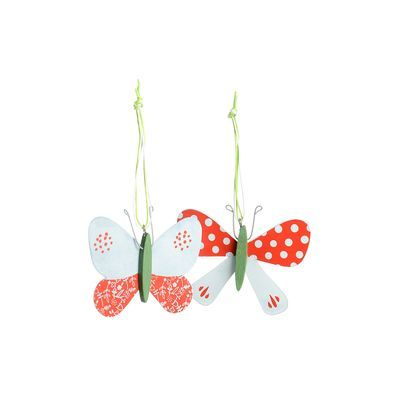 Anhänger Schmetterling 2er-Set grün ca L:7 cm