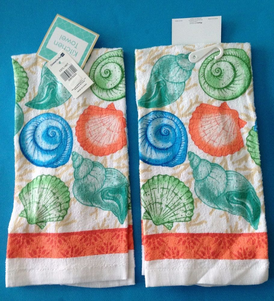 2 Dish Towels Easter Eggs and Chicks Multi Color Terry Cloth Kitchen ...