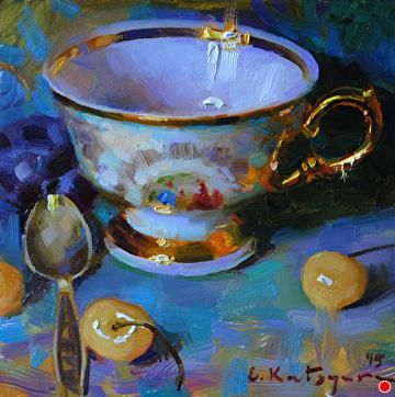 Golden Cup and Cherries by Elena Katsyura Oil ~ 6 x 6