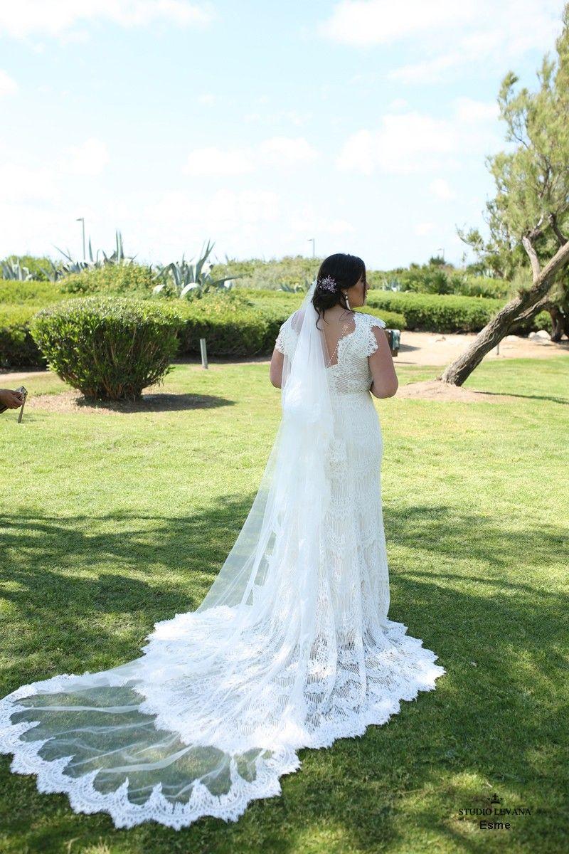 Long sleeve plus size wedding dress  Bohemian plus size lace mermaid eedding gown with long train Esme
