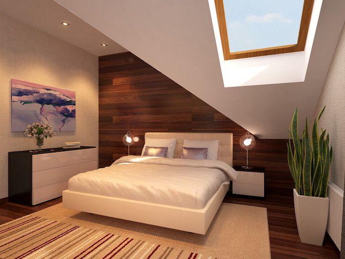 Schlafzimmer Pflanzen ~ Wohnung inspiration schlafzimmer bett mit zwei kleinen lampen an