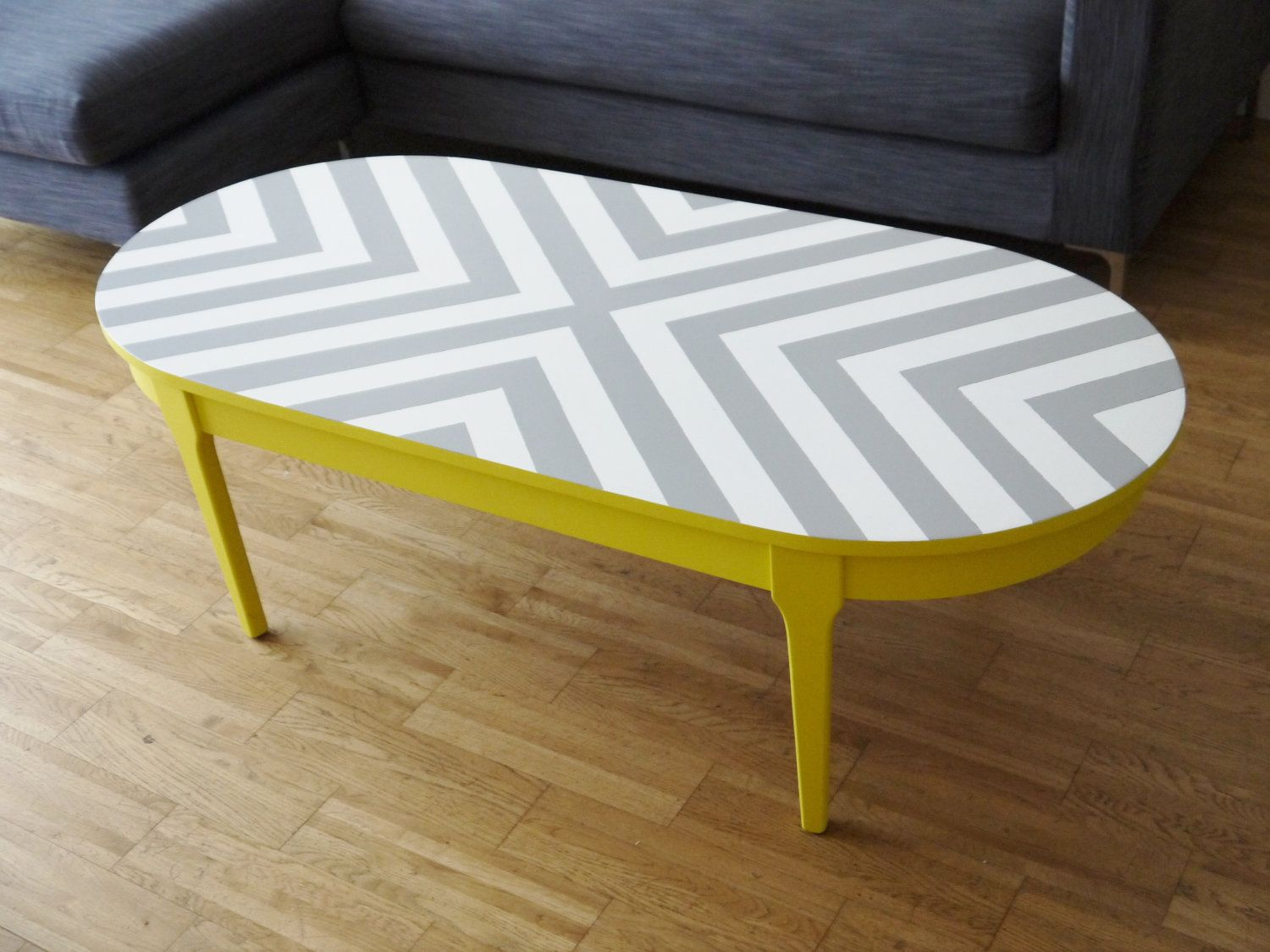 Items Similar To Bespoke Hand Painted Upcycled Geometric Chevron Oval Wood Coffee Table On Etsy Painted Coffee Tables Coffee Table Painted Table Tops [ 1125 x 1500 Pixel ]