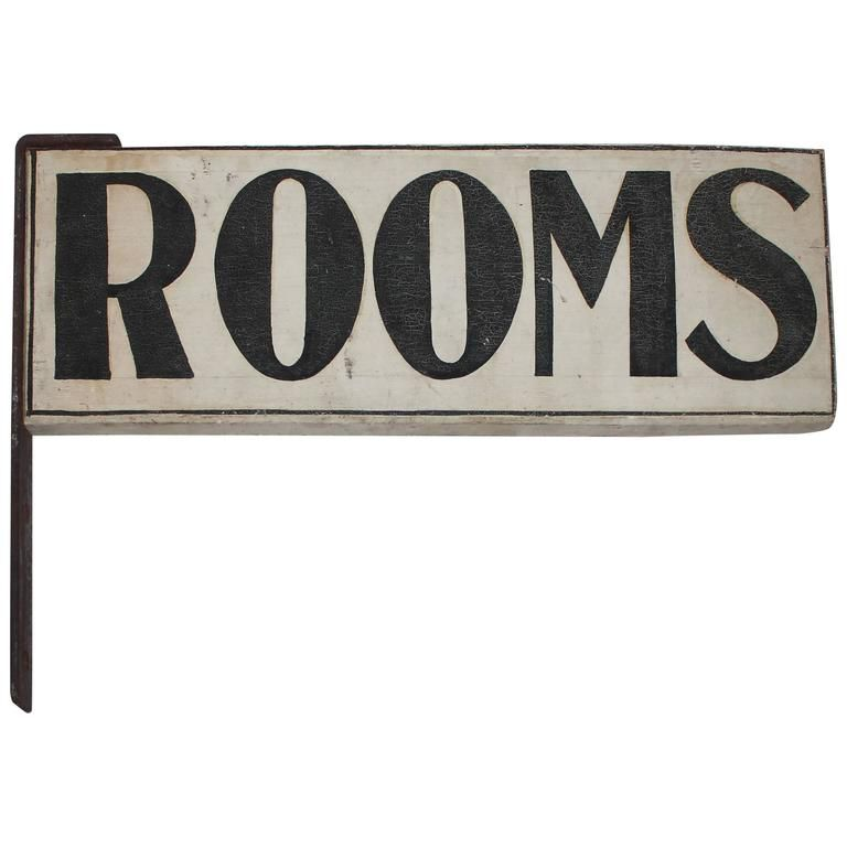 """19th Century Original Painted """"Rooms"""" Sign with Iron Bracket 1"""