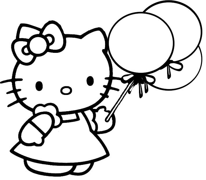 Hello Kitty Holding Ballons Coloring Page | Printables and coloring ...
