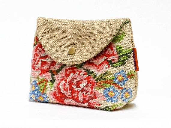 Vintage Needlepoint cosmetic bag by EllaOsix on Etsy, €17.50
