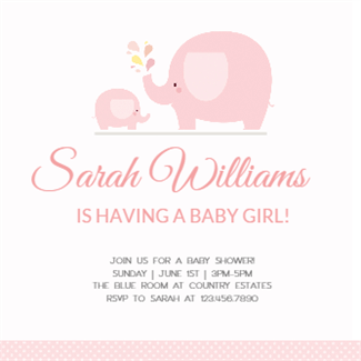 Pink Baby Elephant Baby Shower Invitation Template Free Greetings Island Free Printable Baby Shower Invitations Baby Shower Invitations Elephant Theme Printable Baby Shower Invitations