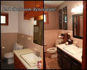 $250 Bathroom Renovation! 1960s Bathroom with Pinky-Beige Tile Updated  using the same tile