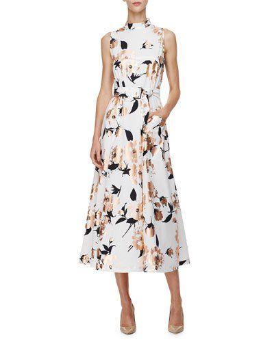 Sleeveless Metallic Floral-Print Dress, Copper