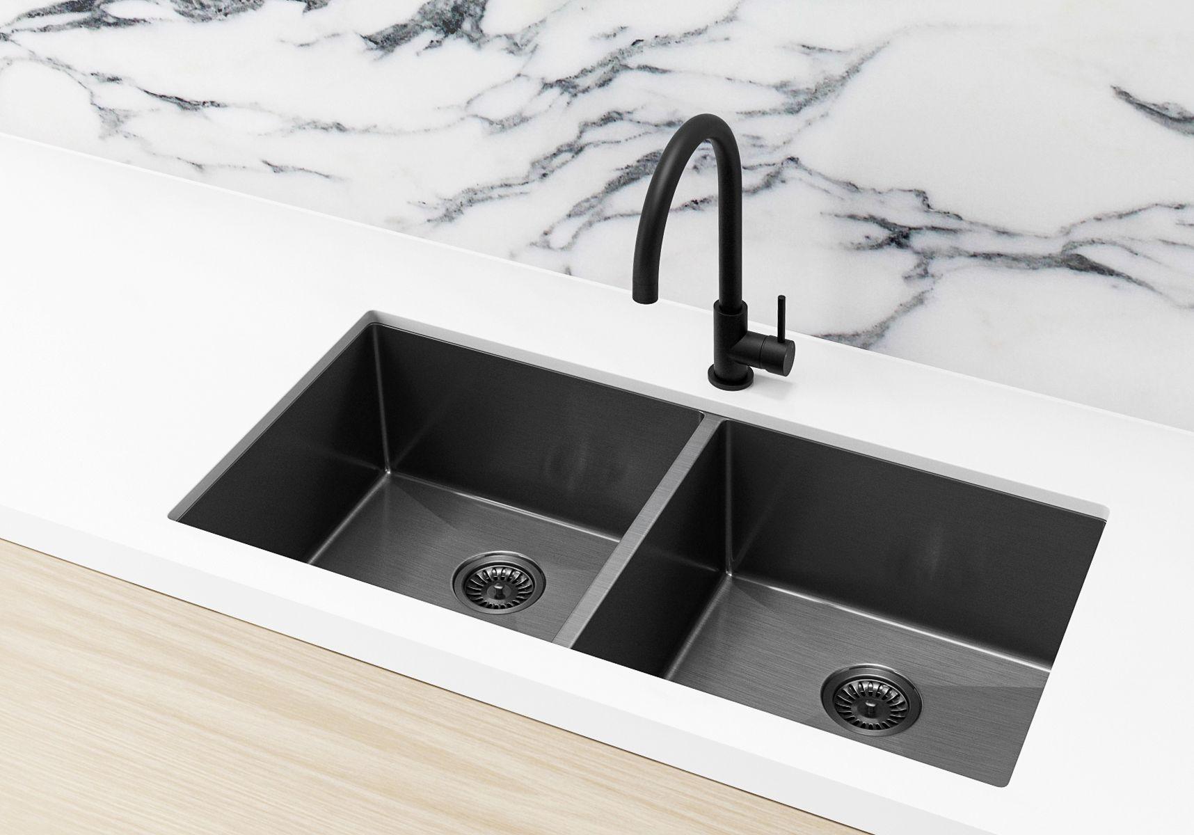 Kitchen Sink Double Bowl 860 X 440 Gunmetal Black In 2020 Double Bowl Kitchen Sink Sink Double Bowl Sink