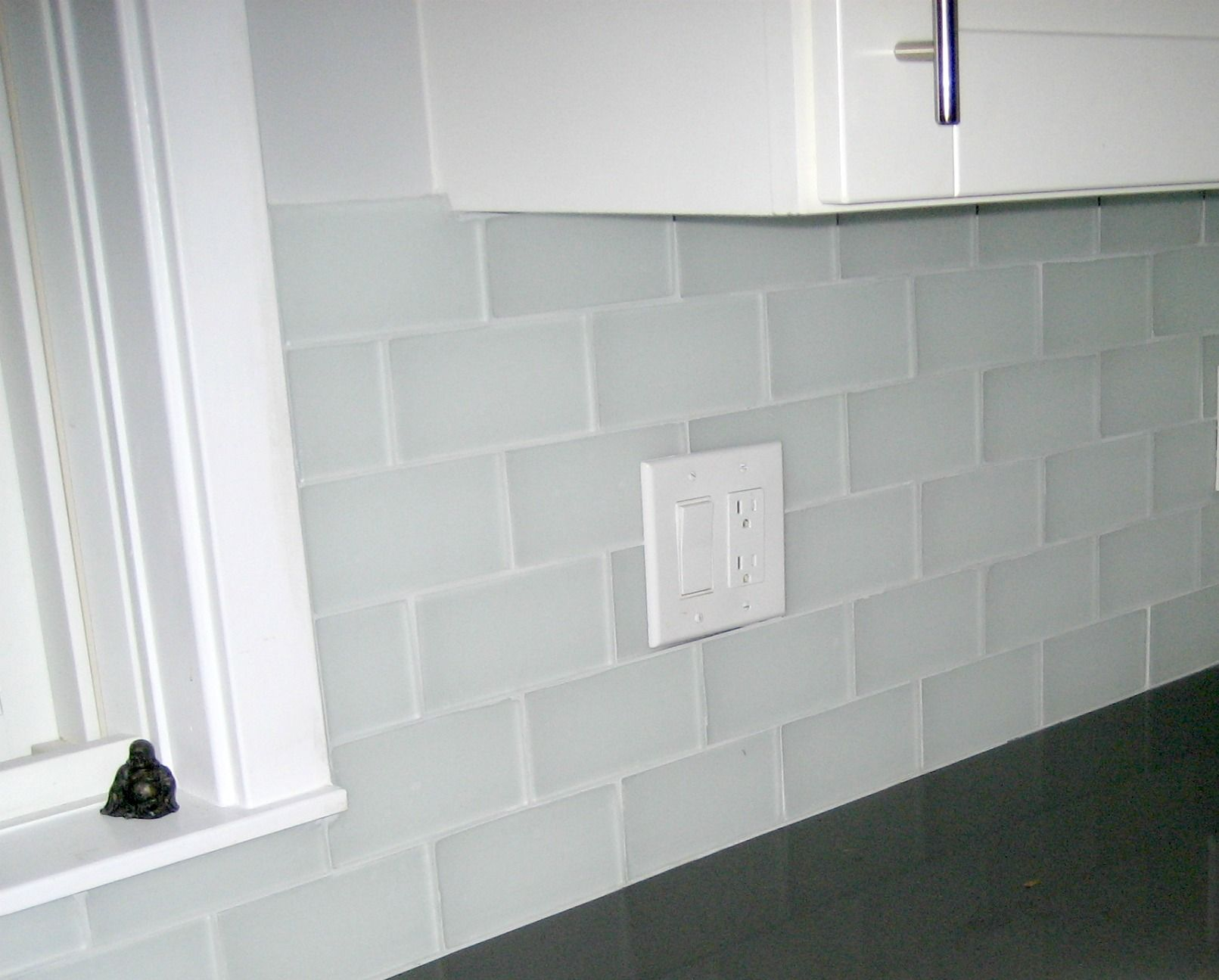 Frosted Glass Subway Tile Backsplash Glass Backsplash Kitchen
