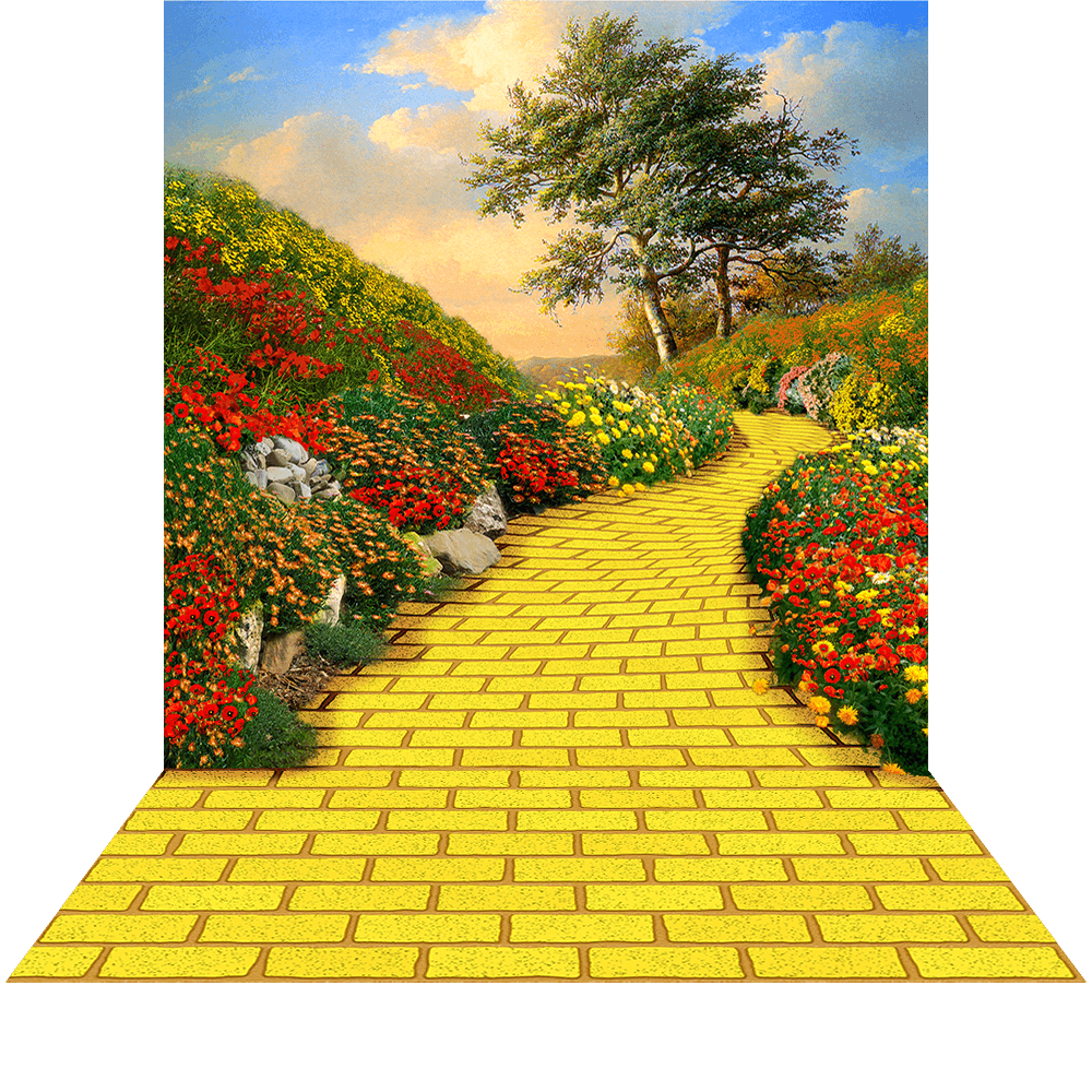 the yelow brick road She seeks to find the way home by following the yellow brick road her intent is  to find the wizard who would bestow on her the knowledge to achieve her goal,.