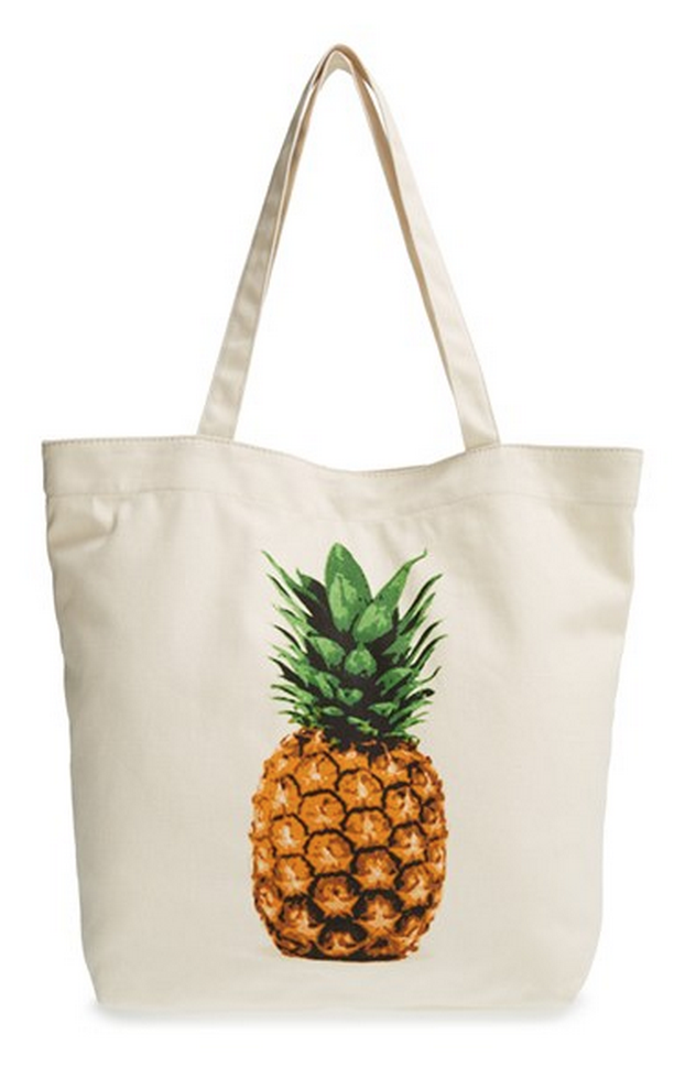 pineapple print canvas tote White tote bag, Bags, Canvas