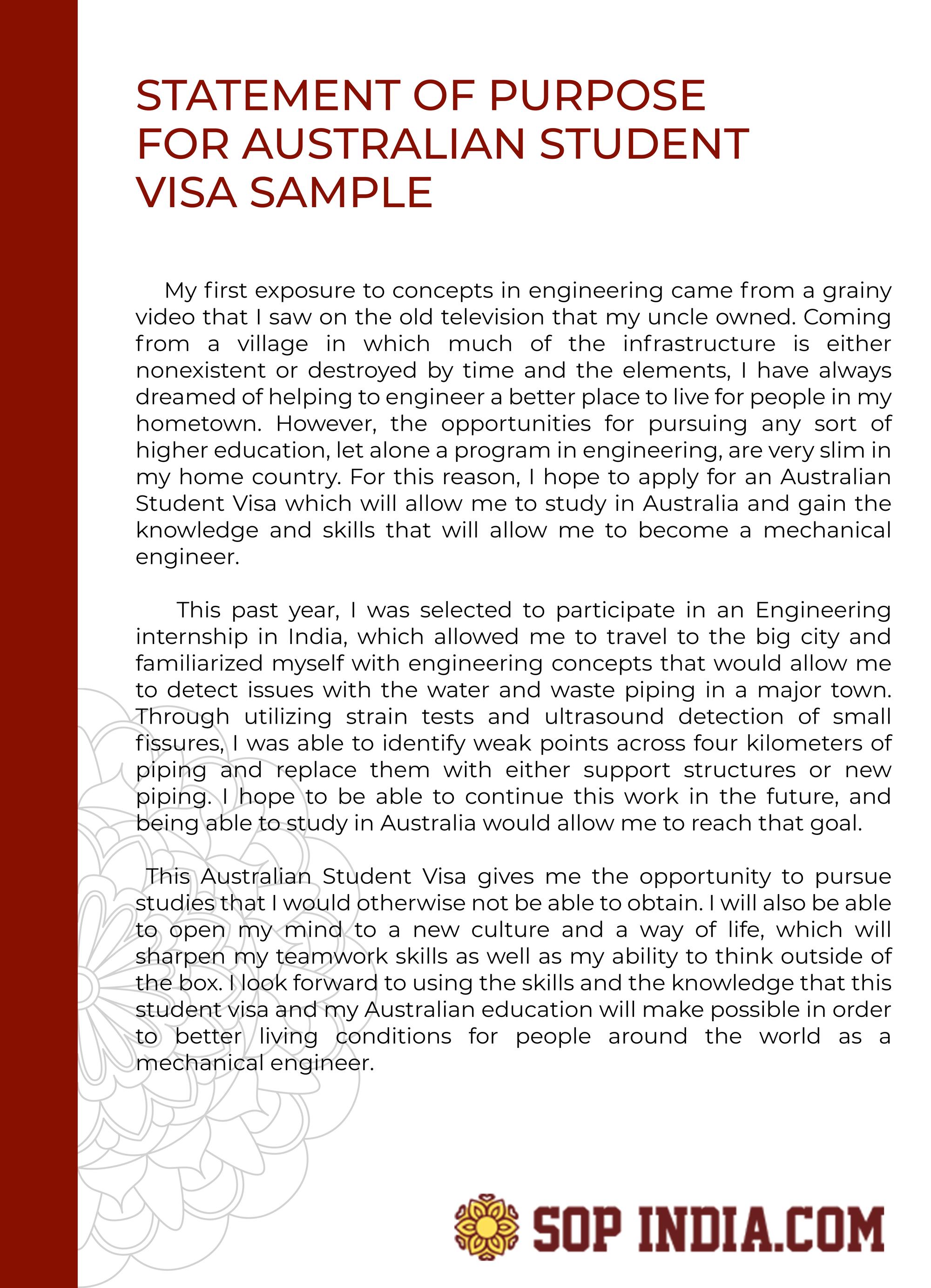 Statement Of Purpose For Australian Student Visa Sample In 2020