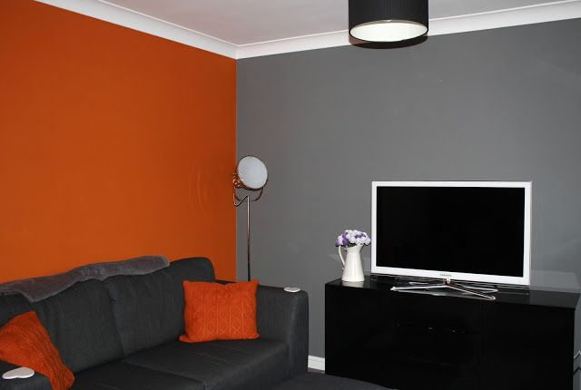 Orange grey living room lounge home pinterest for Grey orange living room