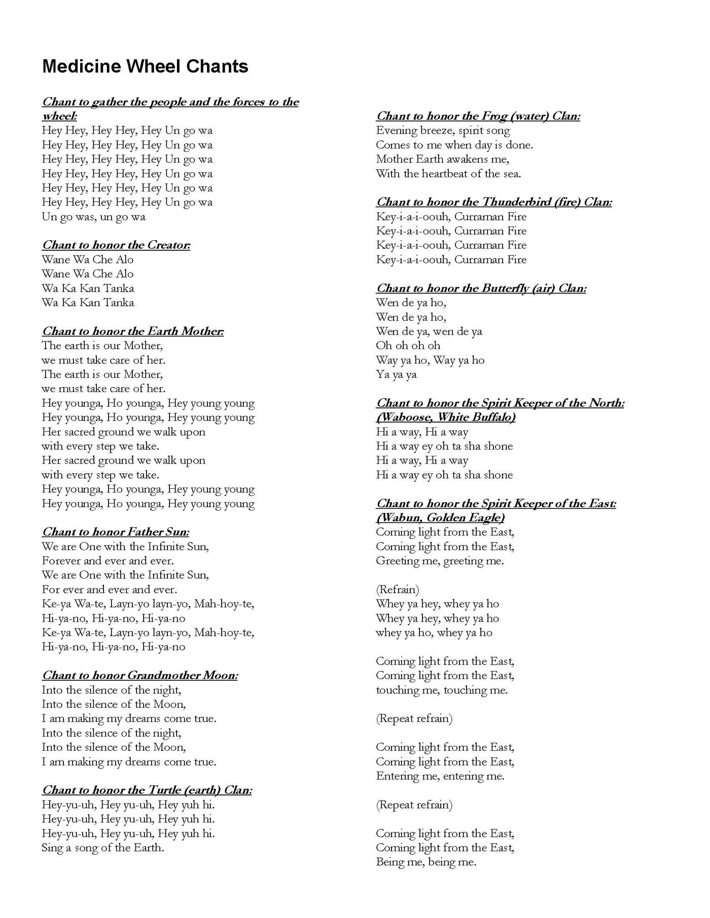 Printable Medicine Wheel Songs