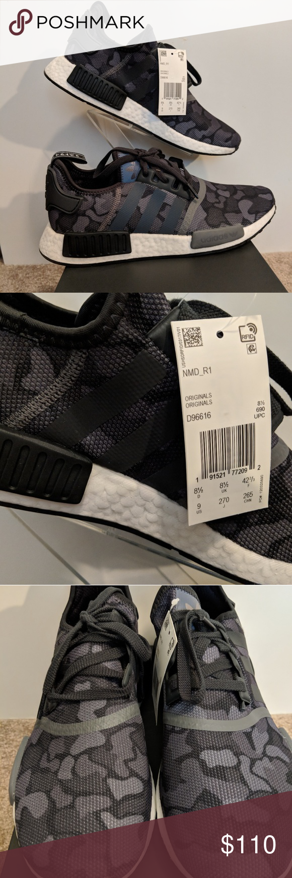 4d607dd19 Adidas NMD R1 Dark Camo Core Black Grey Grey D9661 New With Box! Adidas NMD  R1 Dark Camo Core Black Grey Grey D96616 adidas Shoes Sneakers