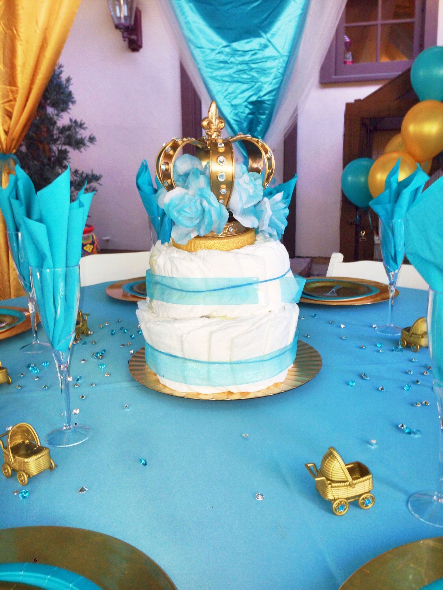 Alexis Royal Baby Shower Diaper Cake Centerpiece