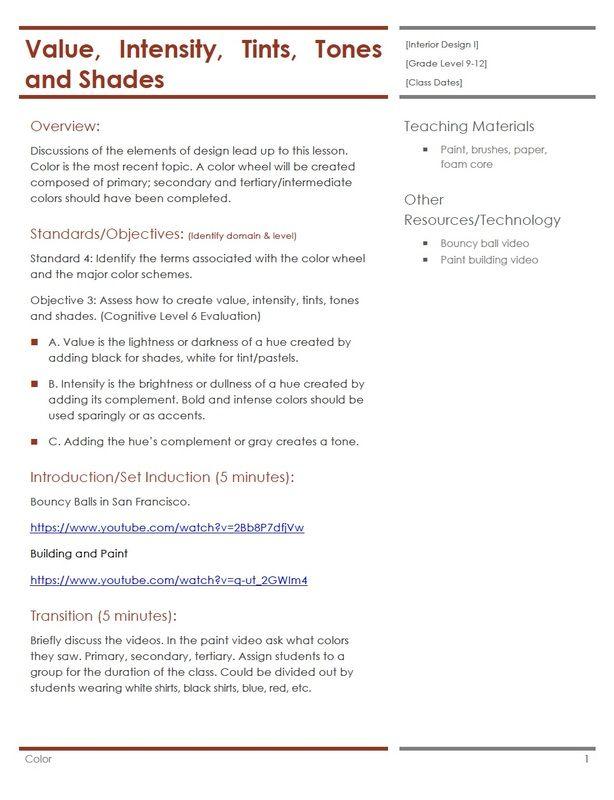 Color Lesson Plan | Housing & Interior Design Lesson Plans ...