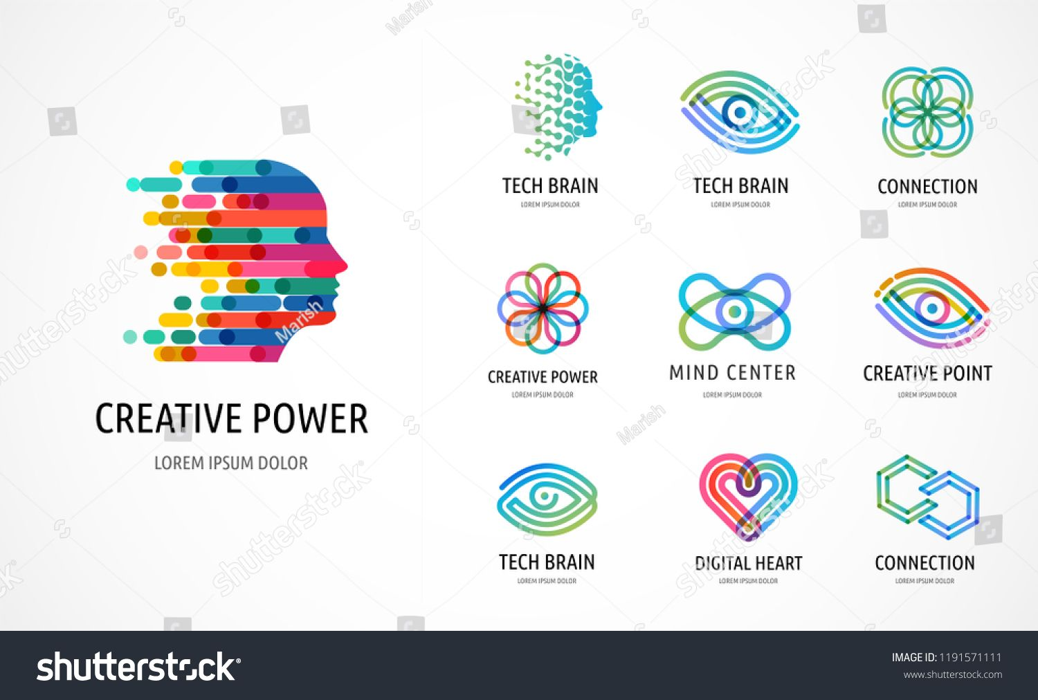 Brain Creative Mind Learning And Design Icons Logos Man Head People Symbols Stock Vector Learning Design Icons B Icon Design Learning Design Mindfulness
