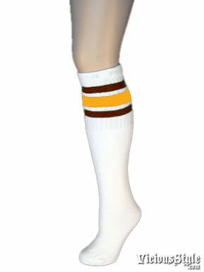 b08800ac6 White Tube Socks with Gold and Maroon Stripes