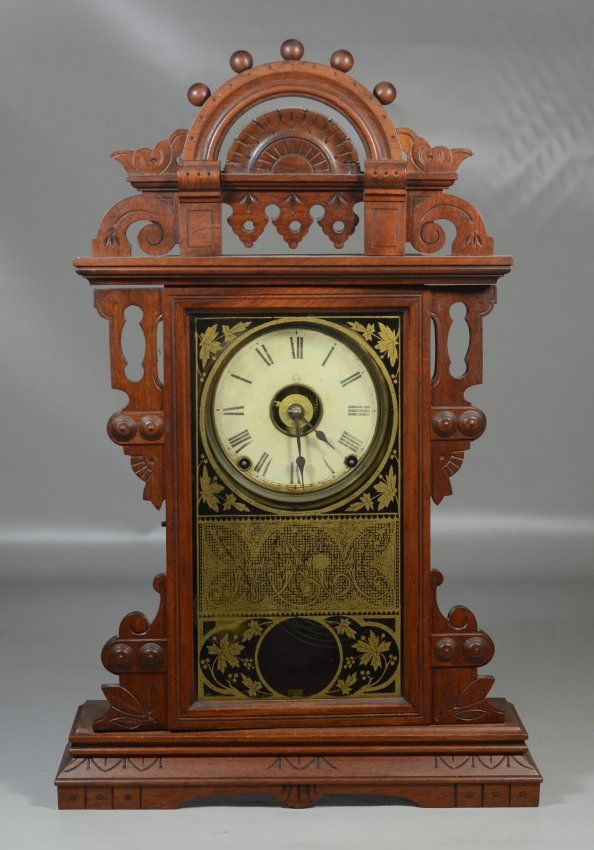 Seth Thomas Walnut Eclipse Ball Top Mantle Clock With Lot 6536