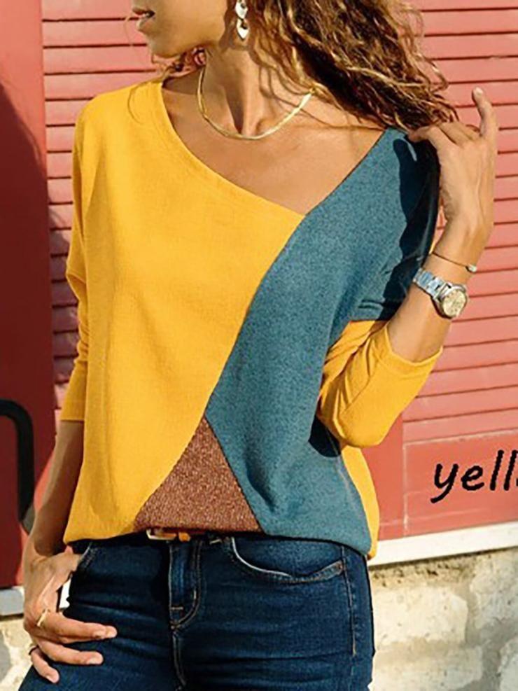 c19afa9471 Asymmetric Neck Patchwork Contrast Stitching T-Shirts |Chicokay ...