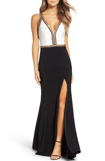 11af8516 Free shipping and returns on Mac Duggal Chain Jersey Gown at Nordstrom.com.  Shiny chains and beadwork trace a revealing cutout bodice that pairs  perfectly ...