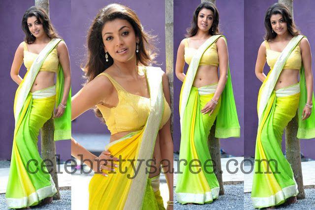 Kajal in Lemon Yellow Saree - Saree Blouse Patterns