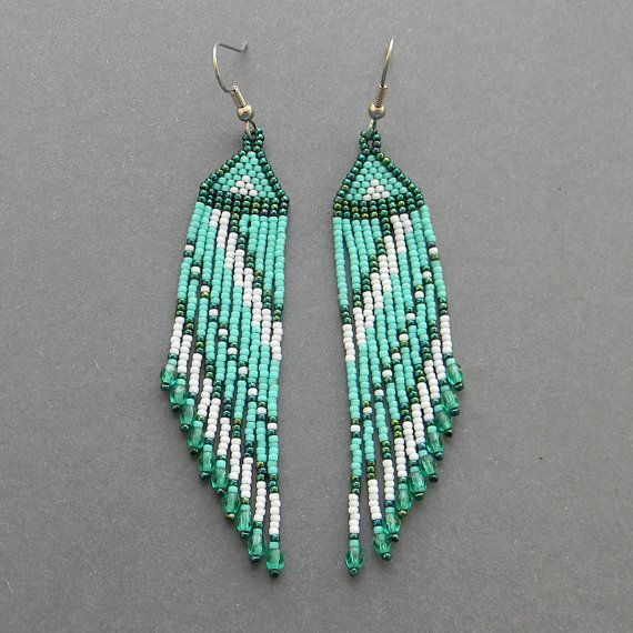 Turquoise Seed Bead Earrings Fringe Dangle By Anabel27 On Etsy