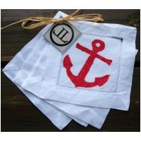 Red Anchor on White Cocktail Napkins S/4